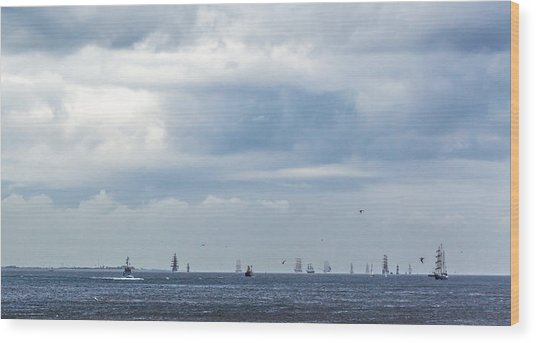 Tall Ships' Exodus Wood Print