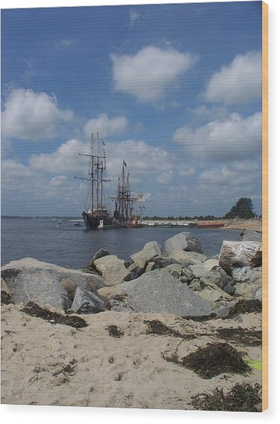 Tall Ships In The Distance Wood Print by Rosanne Bartlett