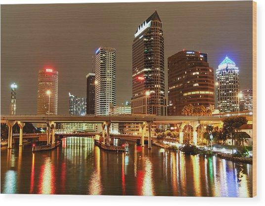 Tampa Skyline Wood Print
