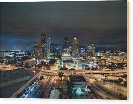 Tampa Skyline With Lightning Wood Print