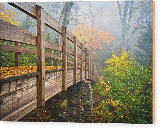 Tanawha Trail Foot Bridge - Rough Ridge Autumn Foliage Nc Wood Print