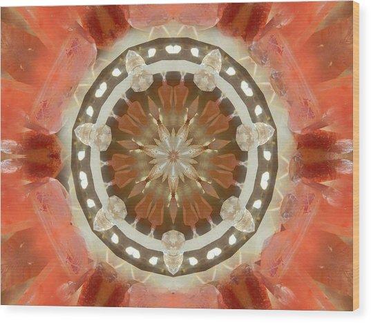 Tangerine Lemurian Seed Crystal Mandala Wood Print