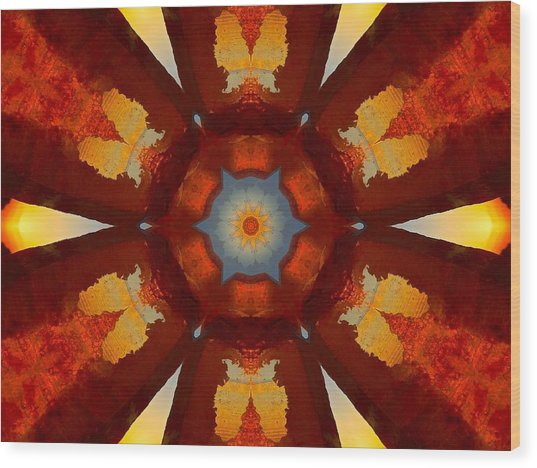 Tangerine Sunset Crystal Mandala Wood Print
