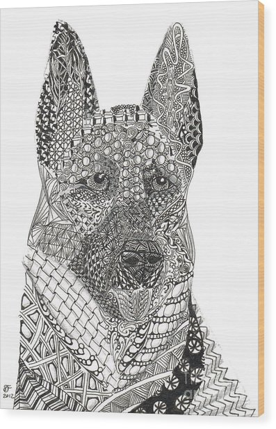 Tangled German Shepherd Wood Print