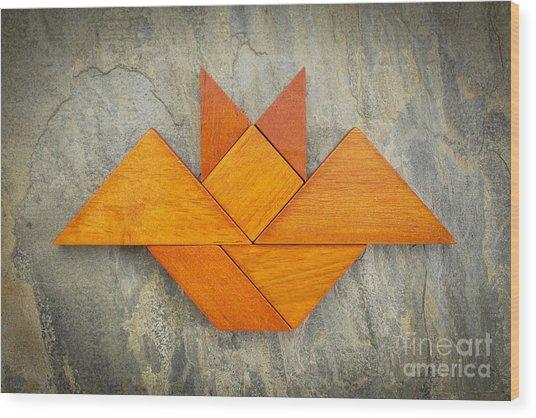 Tangram Bat Abstract Wood Print