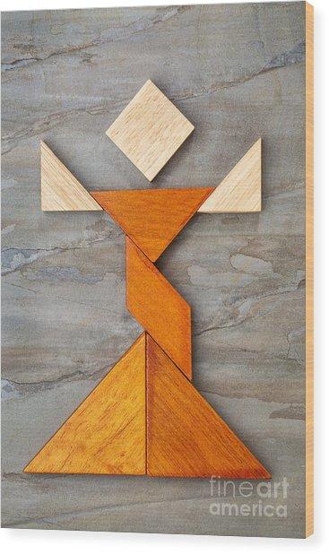 Tangram Dancer Figure Wood Print