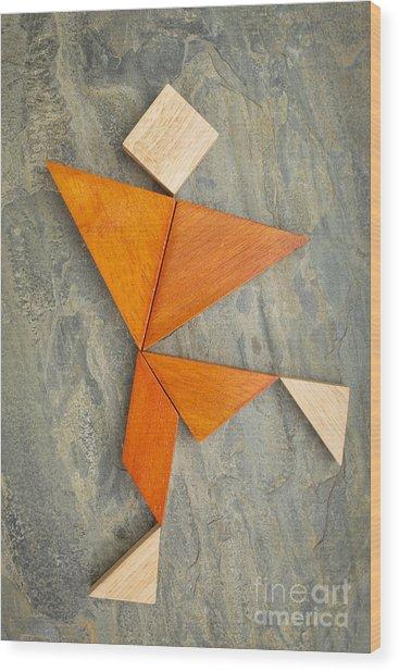 Tangram Dancing Or Running Figure Wood Print