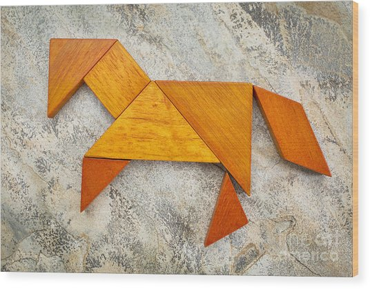 Tangram Horse Abstract Wood Print
