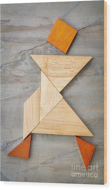 Tangram Walking Figure Wood Print
