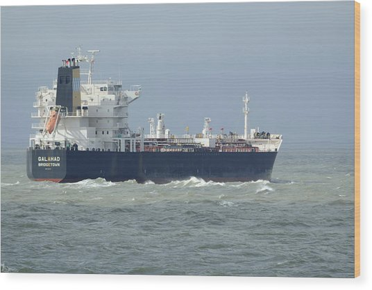 Tanker Heading At Sea Wood Print