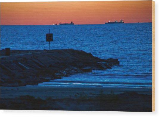 Tanker Sunrise Wood Print