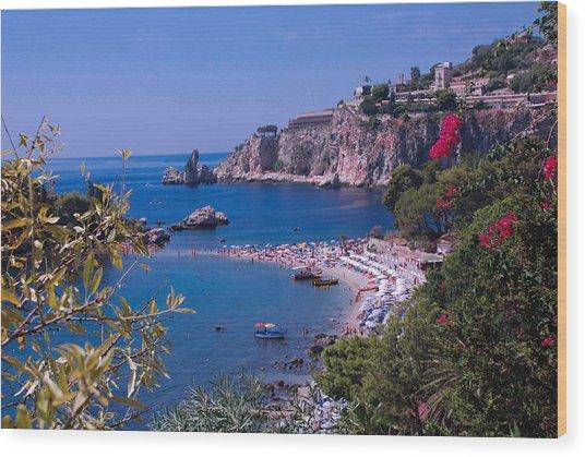Taormina Beach Wood Print