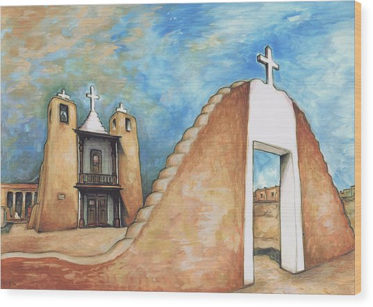 Taos Pueblo New Mexico - Watercolor Art Wood Print