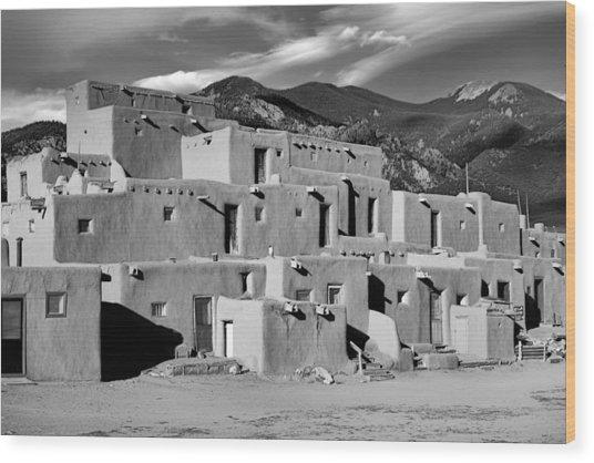 Taos Pueblo North Wood Print