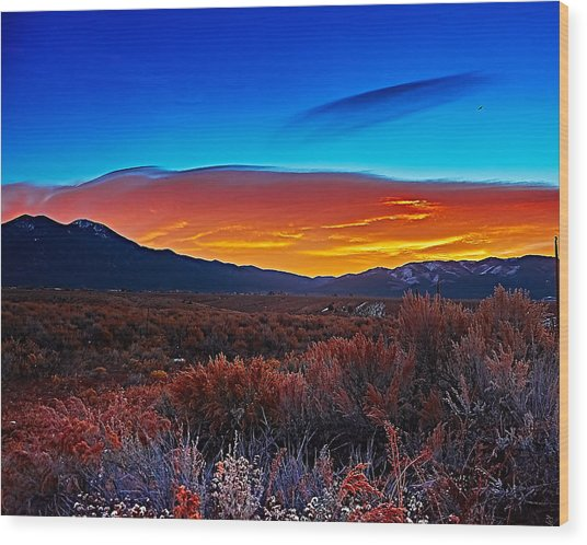 Taos Sunrise X Wood Print