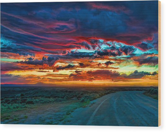 Taos Sunset Iv Wood Print