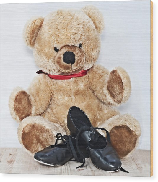 Tap Dance Shoes And Teddy Bear Dance Academy Mascot Wood Print