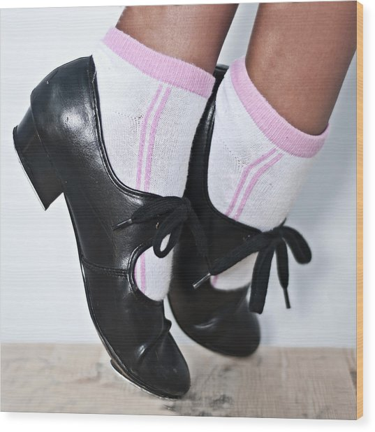 Tap Dance Shoes From Dance Academy - Tap Point Tap Wood Print