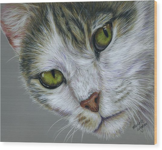 Tara Cat Art Wood Print