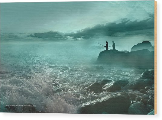 Tarde De Pesca Wood Print