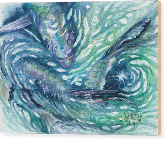 Tarpon Frenzy Wood Print