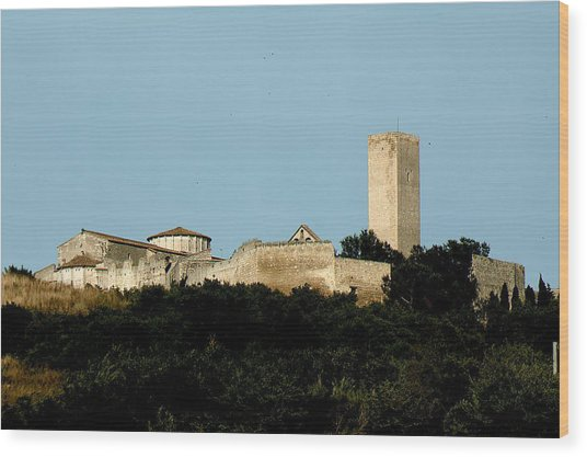 Tarquinia Landscape With Tower Wood Print