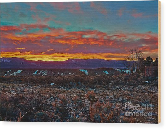 Taos Sunrise Wood Print
