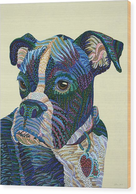 Tater - Portrait Of A Boxer Wood Print