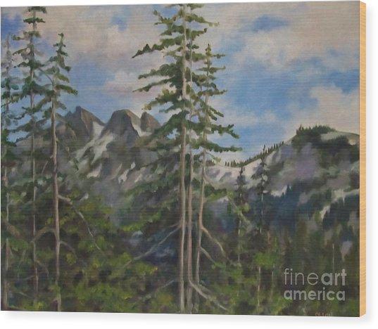 Tatoosh Mountains In Cascades Wood Print by Karen Olson