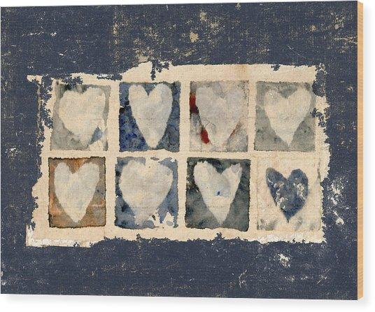 Tattered Hearts Wood Print