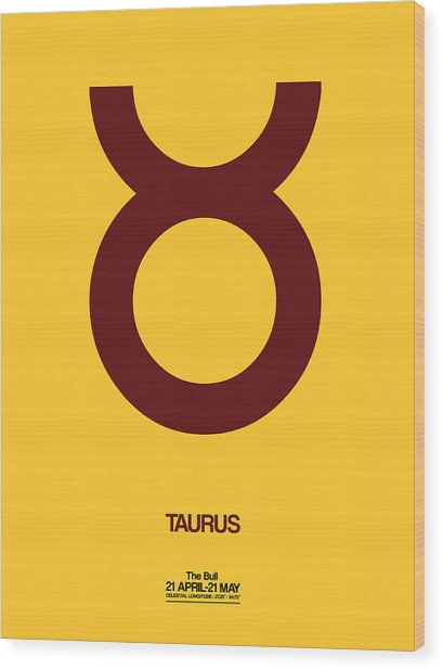 Taurus Zodiac Sign Brown Wood Print