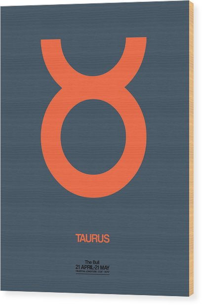 Taurus Zodiac Sign Orange Wood Print