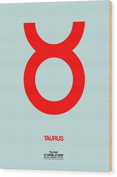Taurus Zodiac Sign Red Wood Print