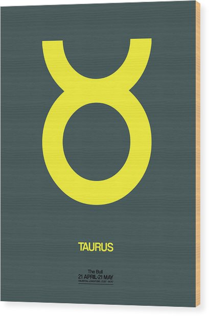 Taurus Zodiac Sign Yellow Wood Print
