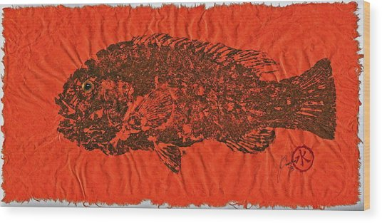 Tautog On Sienna Thai Unyru / Mulberry Paper Wood Print