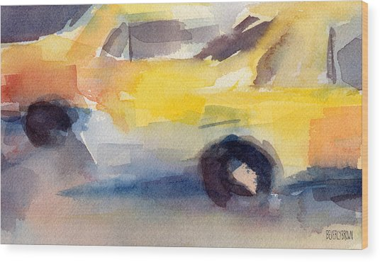 Taxi Cabs Nyc Watercolor Painting Wood Print