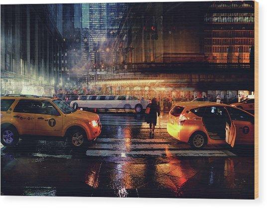 Taxi Wood Print