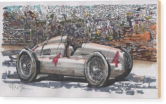 Tazio Nuvolari Auto Union German Grand Prix Wood Print