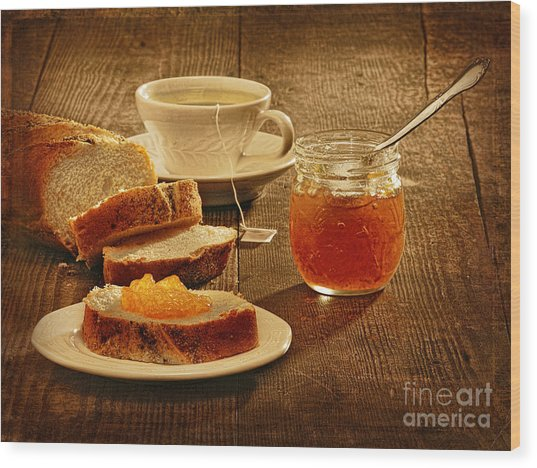 Tea And Bread Wood Print