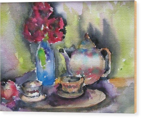 Tea And Flowers Wood Print