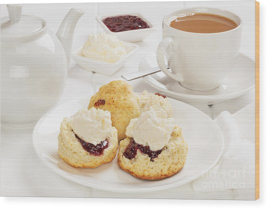 Tea And Scones Wood Print