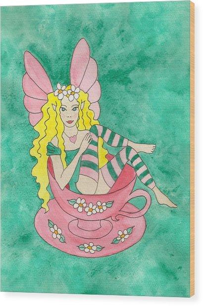Tea Cup Fairy Wood Print