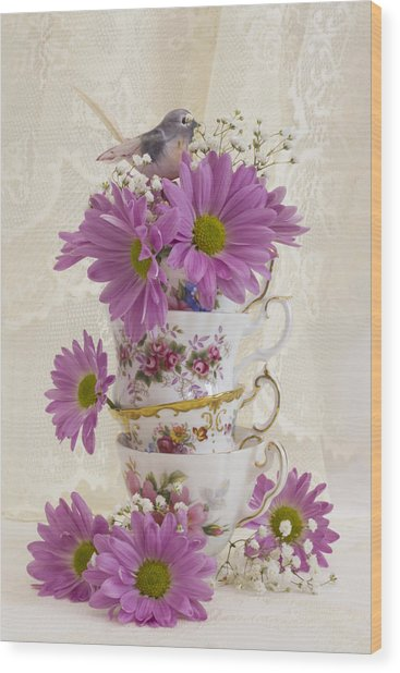 Tea Cups And Daisies  Wood Print