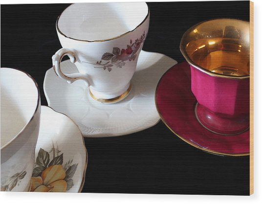 Tea For Three Wood Print