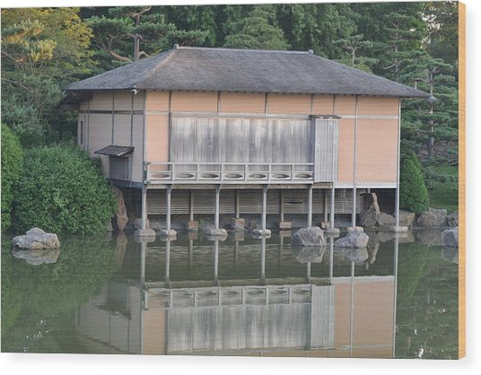 Tea House Reflections Wood Print