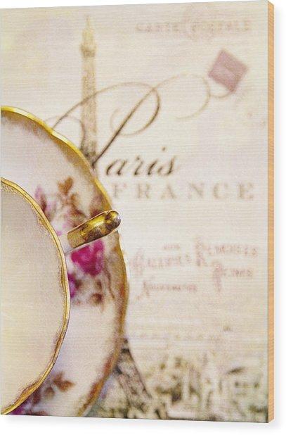 Tea In Paris Wood Print by Rebecca Cozart