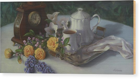 Tea In The Garden Wood Print