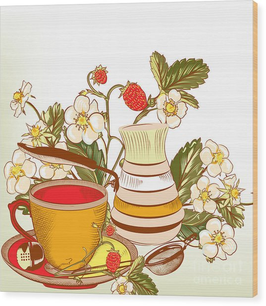 Tea Or Coffee Vector Background With Wood Print
