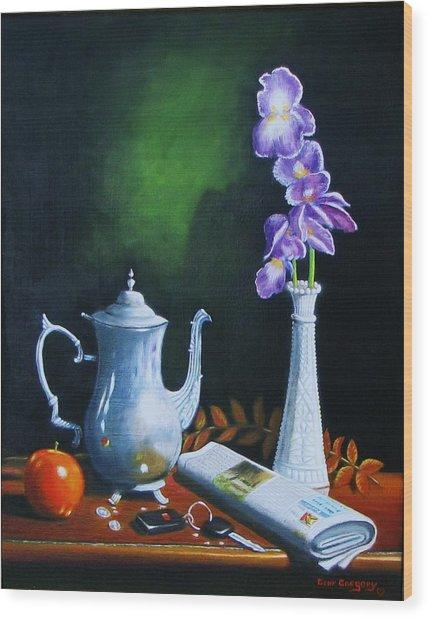 Tea Pot With Iris Wood Print
