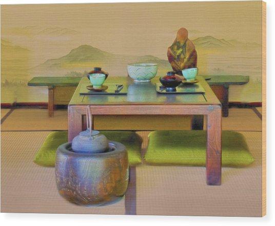Tea Setting Wood Print by Joseph Hollingsworth